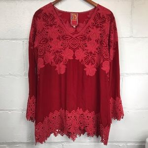 Johnny Was Red Lace Tunic Blouse Size Large